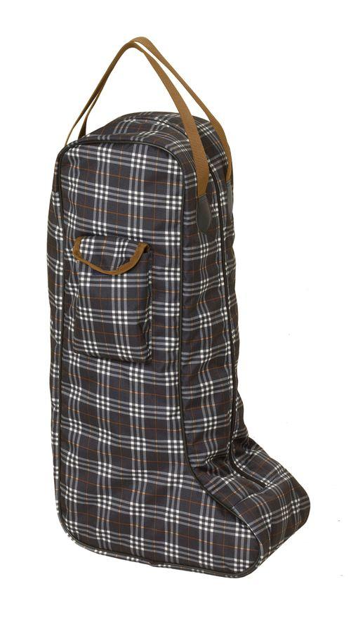 Centaur Plaid Lined Padded Tall Boot Bag - Blue Corn Plaid