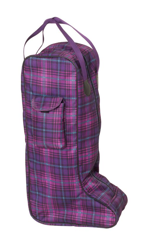 Centaur Plaid Lined Padded Tall Boot Bag - Orchid Plaid